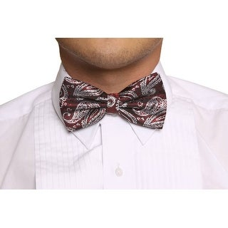Gravity Threads Fashion Paisley Jacquard Pattern Bow Tie - One size