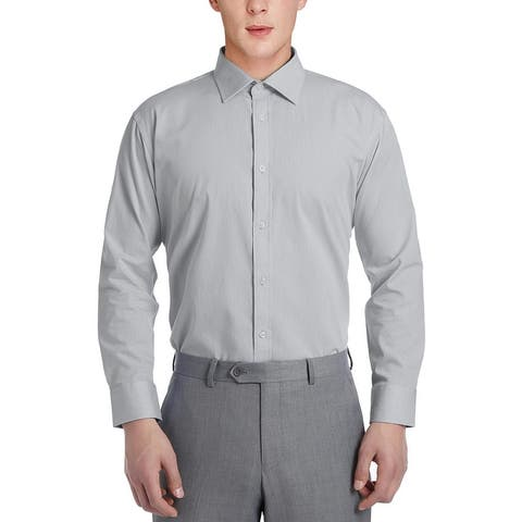 Men's Slim Fit Solid No Iron Spread Collar Dress Shirt