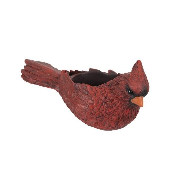 Red Painted Resin Cardinal Planter Bird Flower Pot Home Garden Decor Art - 6.25 X 14 X 6 inches