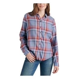 Link to LUCKY BRAND Womens Blue Plaid Long Sleeve Button Up Top  Size L Similar Items in Tops