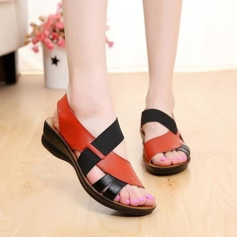 Woman Soft Bottom Middle-Aged Sandals Shoes