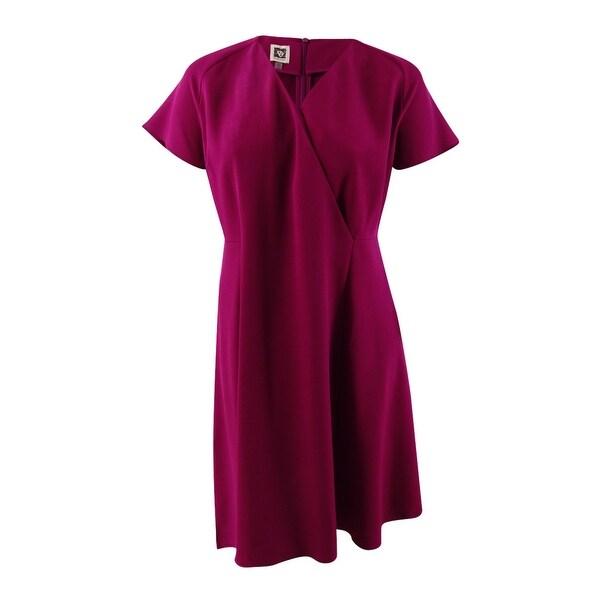 bcabed83c7a01 Anne Klein Women's Plus Size Asymmetrical-Hem Fit & Flare Dress (16W,  Claret) - Claret - 16W