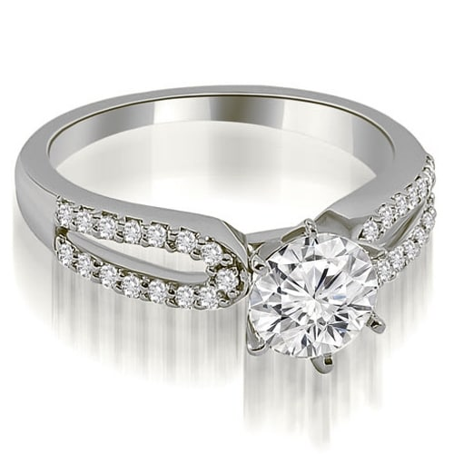 1.25 cttw. 14K White Gold Exquisite Split Shank Round Diamond Engagement Ring