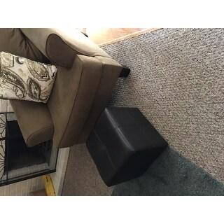 Baxton Studio Ashton Dark Brown Faux Leather Cube Ottoman