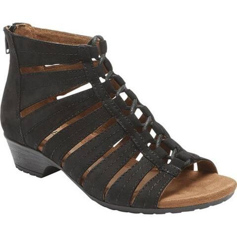 Rockport Women's Cobb Hill Gabby Gladiator Bootie Black Full Grain Leather