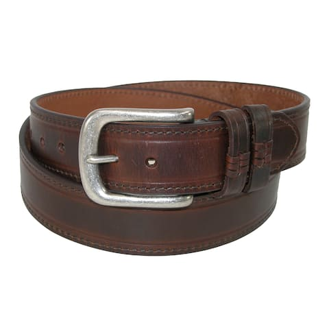 Danbury Men's Big & Tall Leather Belt with Double Loops