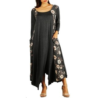 Funfash Women Plus Size Gray Black Long Sleeve Maxi Dress Made in USA