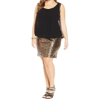 City Chic Womens Plus Bodycon Dress Chiffon Overlay Sequined - l