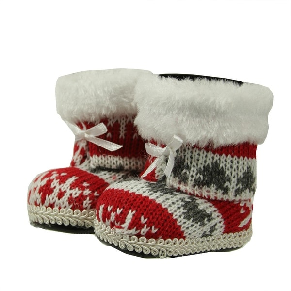 """2.75"""" Alpine Chic Red, White and Gray Nordic Style Boots Christmas Ornament - multi"""