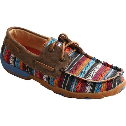 Twisted X Boots Women's WDM0076 Driving Moc Tribal Boat Shoe Serape/Bomber Leather/Canvas