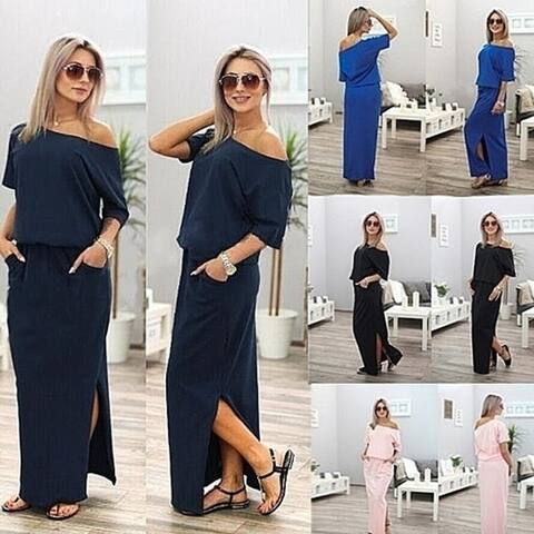Women Sexy Maxi Side Split Loose Short Sleeve Evening Party Dress