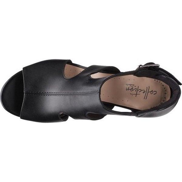 Shop Clarks Women's Deva Heidi Heeled Sandal Black Leather