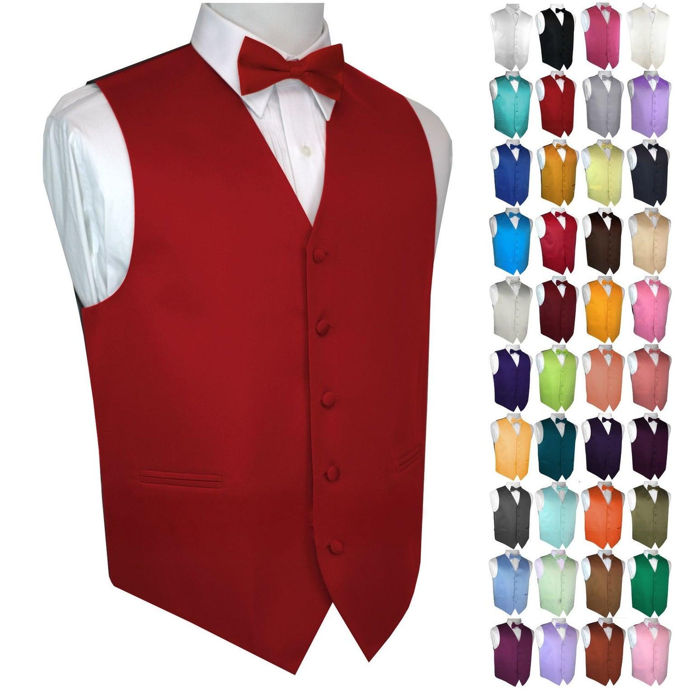 Cruise Men/'s Solid Satin Tuxedo Vest Dress Wedding Formal Bow-Tie set Prom