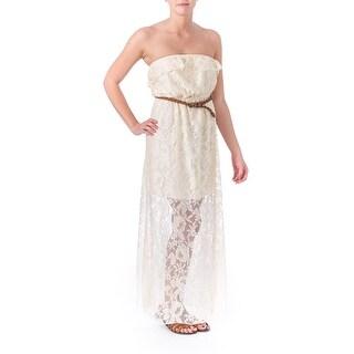 Trixxi Womens Juniors Lace Strapless Maxi Dress