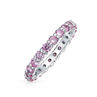 Bling Jewelry Sterling Silver Pink Topaz Color CZ Stackable Eternity Ring