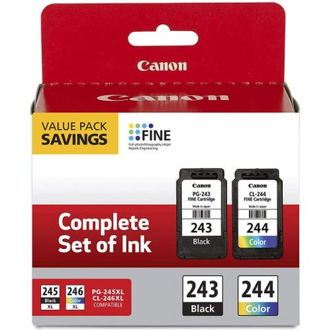 Canon 2 Pack Ink Package with PG-243 Black, CL-244 Color Ink Cartridge - 243 Black & 244 Color