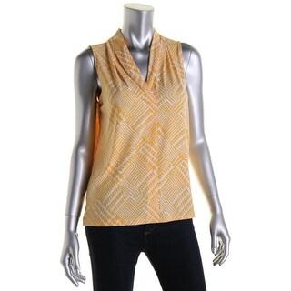 Jones New York Womens Printed Sleeveless Blouse
