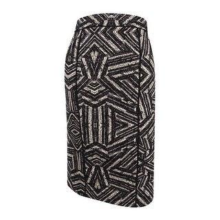 Calvin Klein Women's Piped Printed Scuba Knit Pencil Skirt (4, Black Texture) - 4