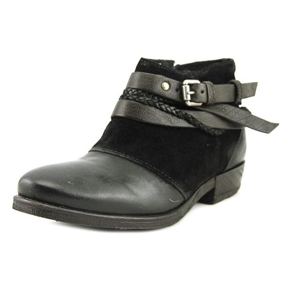 Miz Mooz Danita Women Round Toe Leather Black Ankle Boot