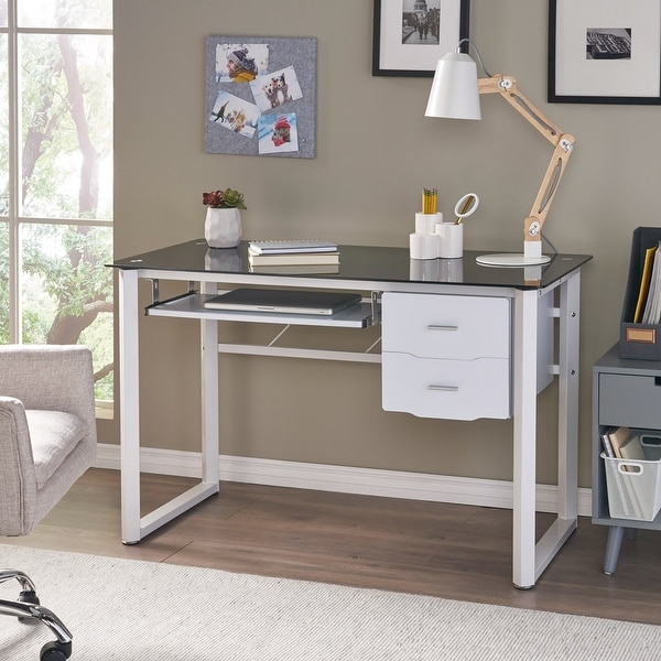 Reeve Tempered Glass Computer Desk with Storage Drawers by Christopher Knight Home. Opens flyout.