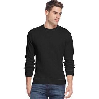 Club Room Mens Cotton Tip Crewneck Sweater Deep Black XL