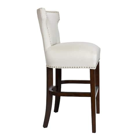 Traditional Off White Upholstered Nailhead Barstool