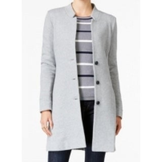 Tommy Hilfiger NEW Heather Gray Womens Size Large L Button Front Coat
