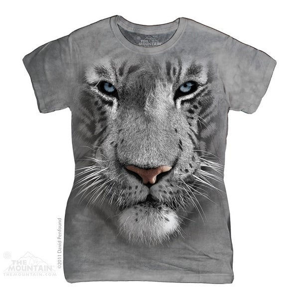 The Mountain Cotton White Tiger Face Design Novelty Womens T-Shirt