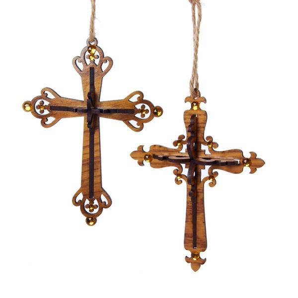 Club Pack of 12 Brown Wooden Carved Cross Religious Holiday Christmas Ornaments 6.5""