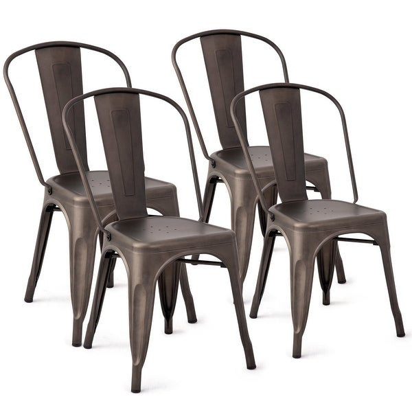 "Costway Set of 4 Distressed Style Dining Side Chair Stackable Bistro - 18""x21""x33.5"". Opens flyout."