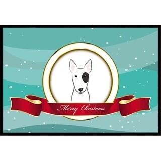 Carolines Treasures BB1519JMAT Bull Terrier Merry Christmas Indoor & Outdoor Mat 24 x 36 in.