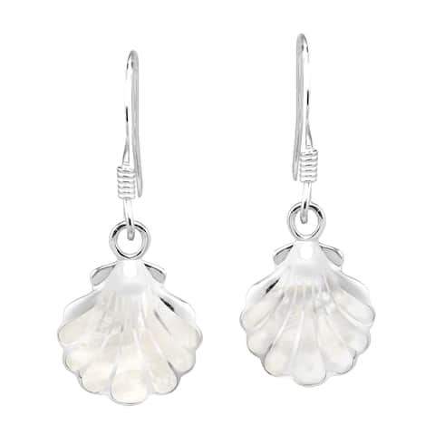Handmade Stunning Seashell with White Mother of Pearl Sterling Silver Dangle Earrings (Thailand)
