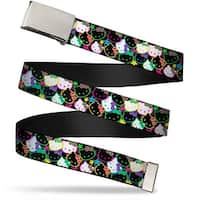 Blank Chrome Bo Buckle Mini Hello Kitty Face Stars Stacked Black Multi Web Belt