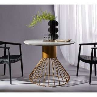 """Safavieh Couture Gwen Pedestal White Marble/Gold Dining Table - 40"""" W x 40"""" L x 31.5"""" H"""
