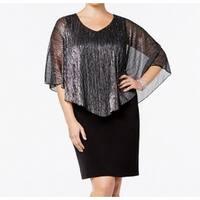 Connected Apparel Silver Black Womens Size 20W Plus Sheath Dress