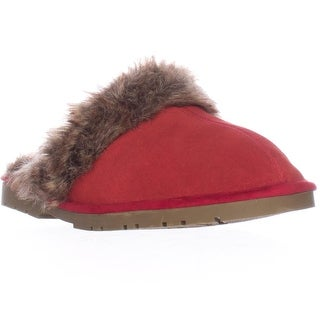 Sporto Jasmine Faux Fur Mule Slippers - Red