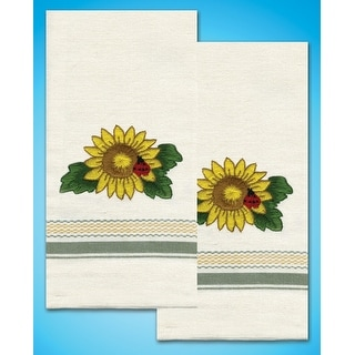 "Stamped Kitchen Towels For Embroidery 20""X28"" 2/Pkg-Sunflower"