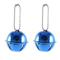 Unique Bargains Christmas Tree Metal Cut out Star Hole 40mm Dia Ring Bell Xmas Gift Blue 2 Pcs