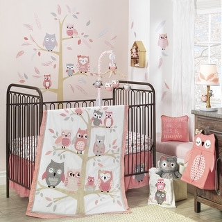 Lambs & Ivy Family Tree Pink/Gray Owl 6-Piece Nursery Baby Crib Bedding Set