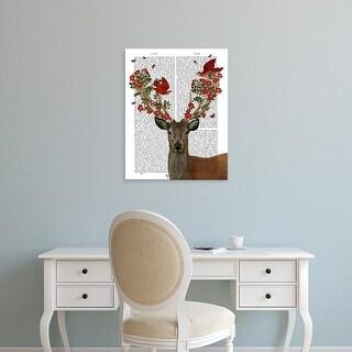 Easy Art Prints Fab Funky's 'Deer and Love Birds' Premium Canvas Art