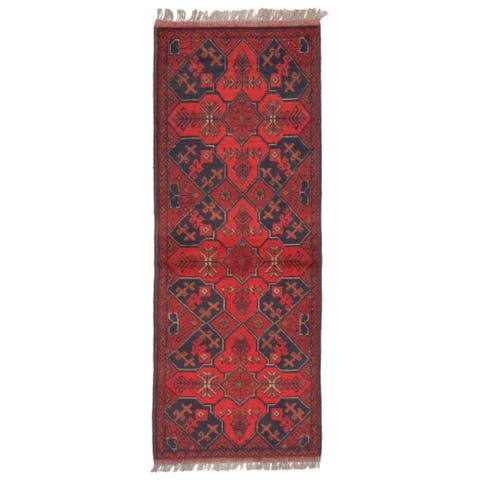 ECARPETGALLERY Hand-knotted Finest Khal Mohammadi Red Wool Rug - 1'9 x 4'8