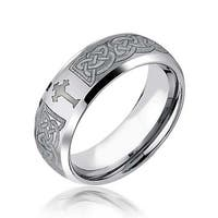 Celtic Cross Infinity Knot Wedding Band Ring for Men  Curved Brushed Tungsten Comfort Fit 8mm