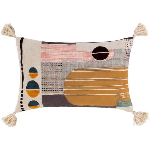 Lorna Embroidered Boho 22x14-inch Lumbar Throw Pillow
