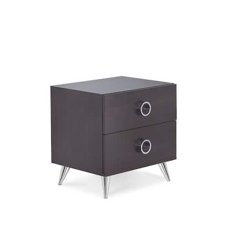 Q-Max Contemporary Style Silver Tapered Legs Wood Nightstand