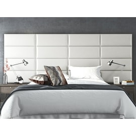 Vant Upholstered Wall Panels (Headboards) Sets of 4 - Deluxe Leather - Cream White - 30 Inch - Full-Queen.