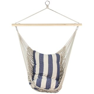 """35.25"""" x 46"""" Tan Cotton Netting Hammock Chair with Wooden Bar - White"""