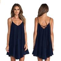 Sexy V-Neck Dress Fashion Women Backless Cross Bandage Short Club Dress