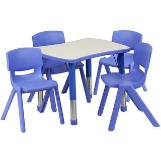 Offex 21.875''W x 26.625''L Adjustable Rectangular Blue Plastic Activity Table Set with 4 School Stack Chairs|https://ak1.ostkcdn.com/images/products/is/images/direct/2573997ada35c5e97c6e85a44c1a4d3b8a863986/Offex-21.875%27%27W-x-26.625%27%27L-Adjustable-Rectangular-Blue-Plastic-Activity-Table-Set-with-4-School-Stack-Chairs.jpg?impolicy=medium