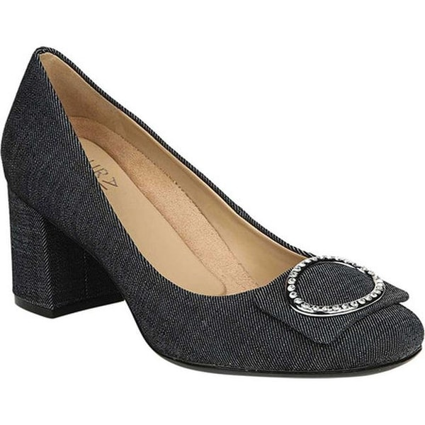 58d7aafb5796 Naturalizer Women  x27 s Wright Block Heel Pump Dark Blue Denim Fabric