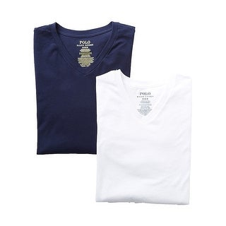 POLO RALPH Blue White V-Neck 2-Pack Mens Size Medium M Undershirt